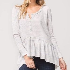 Free People Coastline Waffle Knit Top Ivory Gray